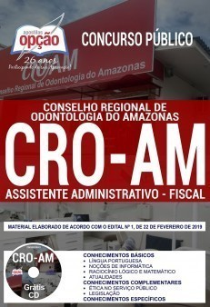 Apostila Concurso CRO AM 2019 PDF e Impressa Assistente Administrativo Fiscal