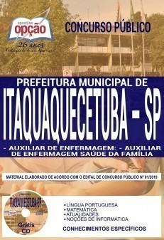 Apostila Concurso Prefeitura de Itaquaquecetuba 2019 PDF e Impressa Auxiliar de Enfermagem