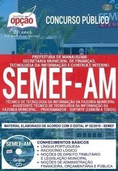 Apostila Concurso SEMEF AM 2019 PDF e Impressa Técnico de TI e Assistente Técnico de TI