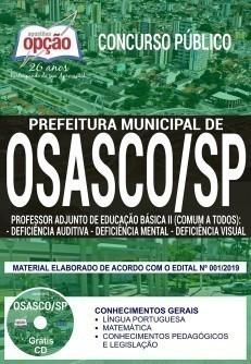 Apostila Concurso Prefeitura de Osasco 2019 PDF e Impressa Professor de Deficiência Auditiva, Mental e Visual