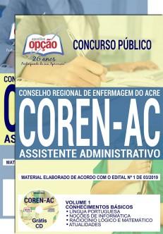 Apostila COREN AC 2019 Assistente Administrativo PDF e Impressa