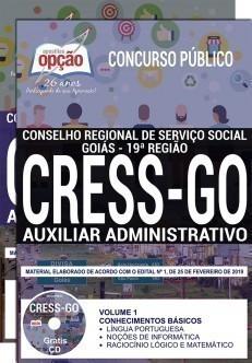 Apostila CRESS GO 2019 Auxiliar Administrativo PDF e Impressa