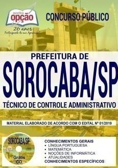 Apostila Prefeitura de Sorocaba 2019 Técnico de Controle Administrativo PDF e Impressa