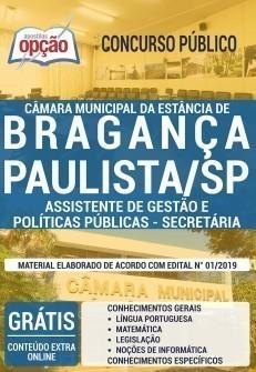 Apostila Concurso Câmara de Bragança Paulista 2019 Assistente de Gestão e Políticas Públicas Secretária PDF e Impressa