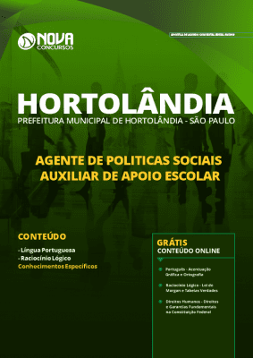 Apostila Concurso Prefeitura de Hortolândia 2019 Auxiliar de Apoio Escolar Grátis Cursos Online