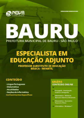 Apostila Concurso Prefeitura de Bauru 2020 Grátis Cursos Online Cargo Professor Substituto