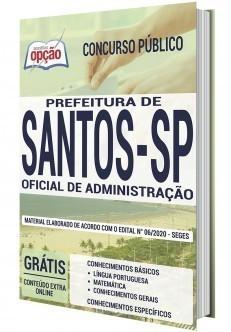 Apostila Concurso Prefeitura de Santos 2020 Oficial de Administração PDF e Impressa