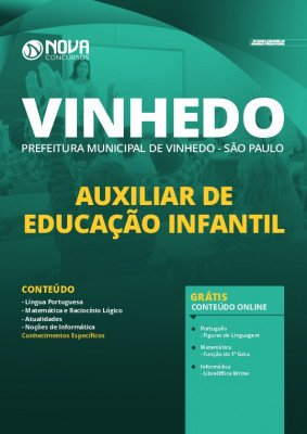 Apostila Concurso Prefeitura de Vinhedo 2020 Auxiliar de Educação Infantil Grátis Cursos Online