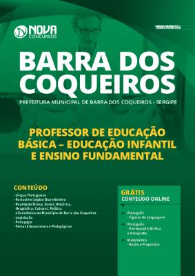 Apostila Prefeitura de Barra dos Coqueiros 2020 Professor de Educação Básica Impressa e PDF Grátis Cursos Online