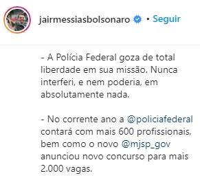 Presidente da República Jair Bolsonaro confirma concurso da polícia federal 2020
