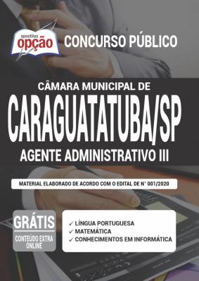 Apostila Câmara de Caraguatatuba SP 2020 PDF e Impressa Cargo Assistente Administrativo III