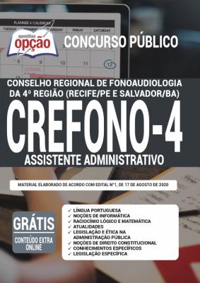 Apostila Concurso Crefono 4 2020 PDF e Impressa Cargo Assistente Administrativo