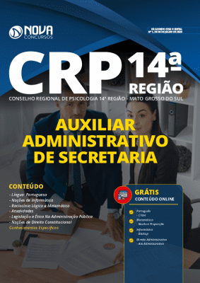 Apostila Concurso CRP MS 2020 Grátis Cursos Online Auxiliar Administrativo de Secretaria