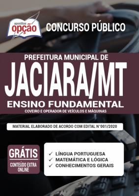 Apostila Prefeitura de Jaciara MT 2020 PDF e Impressa Cargos de Coveiro e Operador de Veículos e Máquinas