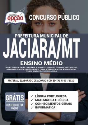 Apostila Concurso Prefeitura de Jaciara MT 2020 PDF e Impressa Cargos de Ensino Médio
