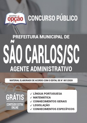 Apostila Concurso Prefeitura de São Carlos SC 2020 PDF e Impressa Cargo Agente Administrativo