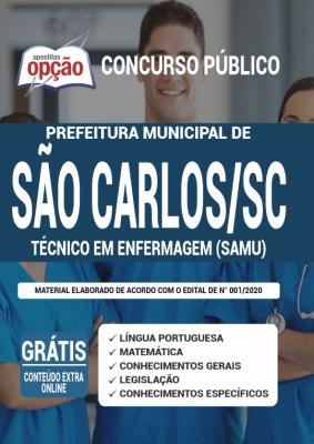 Apostila Concurso Prefeitura de São Carlos SC 2020 PDF e Impressa Cargo Técnico em Enfermagem SAMU