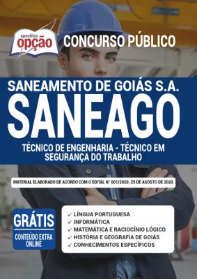 Apostila Concurso SANEAGO 2020 PDF e Impressa Cargo Técnico de Engenharia - Técnico em Segurança do Trabalho