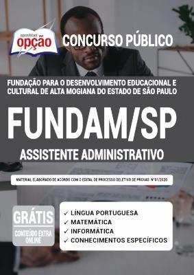 Apostila Concurso FUNDAM SP 2020 PDF e Impressa Assistente Administrativo