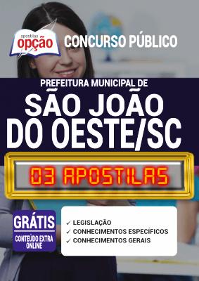 Apostila Concurso Prefeitura de São João do Oeste SC 2020 PDF e Impressa
