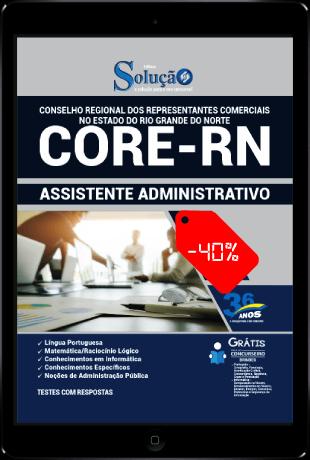 Apostila Concurso CORE RN 2021 PDF Download Desconto Assistente Administrativo